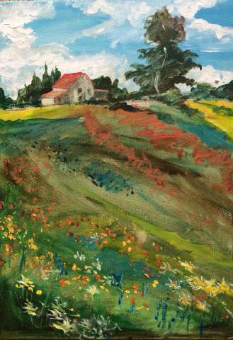 A take on Monet's Poppies to inspire the prayers for Wildflower Ranch